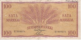 BILLETE DE FINLANDIA DE 100 MARKKAA DEL AÑO 1957  (BANKNOTE)(puntos De Aguja) - Finlande