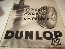 ANCIENNE PUBLICITE SECURITE  PNEU DUNLOP 1953 - Transport