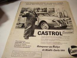 ANCIENNE PUBLICITE FEU VERT AVEC CASTROL 1960 - Transports