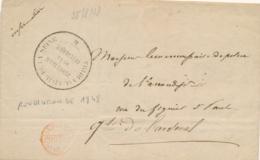 """Cachet """" TRIBUNAL CIVIL DE LA SEINE / PROCUREUR DE LA REPUBLIQUE """" ( Sénéchal 4970 ) REVOLUTION 1848 Sur Lettre - 1801-1848: Precursori XIX"""