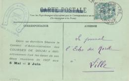 BLANC N°111 5c Seul Sur CP ILLUSTRÉE  Au Tarif Des Imprimés ( CONVOCATION ) Obl DOUAI GARE NORD 1907 - Marcophilie (Lettres)