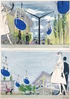 5 CPM Exposition Universelle BRUXELLES 1958  Dessin De BROWNE Télésiège  Système De ROLL ' Suisse ) F6 - Universal Exhibitions