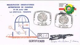 30940. Carta Certificada LA OROTAVA (Canarias) 1985. Observatorio Astrofisico - 1931-Hoy: 2ª República - ... Juan Carlos I