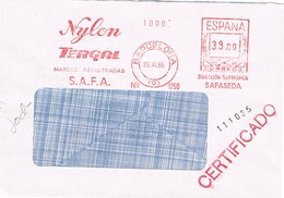 30941. Carta Certificada BARCELONA 1985. Franqueo Mecanico NYLON, TERGAL, SAFA - 1931-Hoy: 2ª República - ... Juan Carlos I