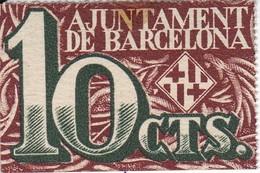 BILLETE DE AJUNTAMENT DE BARCELONA DE 10 CTS DEL AÑO 1937 (BANKNOTE) - [ 3] 1936-1975 : Régimen De Franco