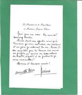 Jacques-CHIRAC-lettre-autographe-ELYSEE   FRAIS DE PORT OFFERTS - Personaggi