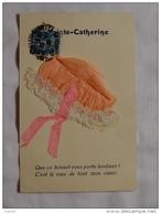 CARTE AVEC BONNET SAINTE CATHERINE : ..........FI-1676 - Embroidered
