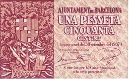 BILLETE DE AJUNTAMENT DE BARCELONA DE 1,50 PESETAS DEL AÑO 1937 (BANKNOTE) - [ 3] 1936-1975 : Régence De Franco