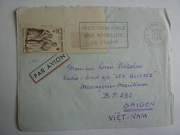 """Messageries Maritimes CARGO """" LES GLIERES"""" Vers  SAIGON VIET-NAM  Timbre Croix Rouge Callot  + Flamme Jan2019Abl6 - Storia Postale"""