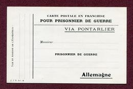"PRISONNIER DE GUERRE : "" ALLEMAGNE Via PONTARLIER ""  Modèle C.I.N. Avr. 1916 - Pontarlier"