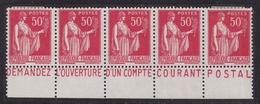 PUBLICITE: TYPE PAIX 50C ROUGE BANDE HORIZONTALE OUVERTURE D'UN CCP  ACCP 1000 A 1004 NEUFS* - Advertising