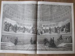 Gravure 1865  SALLE DES BEAUX ARTS PARIS Hemicycle      PALAIS DES BEAUX ARTS  ARCHITECTURE - Sin Clasificación