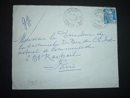 LETTRE TP M. DE GANDON 15F OBL.10-5 1955 FONTAINEBLEAU GARE S. ET M. (77) - Railway Post