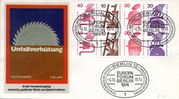"Westberlin Schmuck-FDC Mi.H-Blatt 17 ""Unfallverhütung 1974"" ESSt 4.10.1974 BERLIN 12 - FDC: Covers"