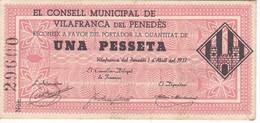 BILLETE DE 1 PESETA DEL CONSELL MUNICIPAL DE VILAFRANCA DEL PENEDES AÑO 1937 Nº GRANDES SIN CIRCULAR-UNCIRCULATED - 1-2 Pesetas
