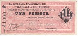 BILLETE DE 1 PESETA DEL CONSELL MUNICIPAL DE VILAFRANCA DEL PENEDES AÑO 1937 CON ASTERISCO SIN CIRCULAR-UNCIRCULATED - 1-2 Pesetas