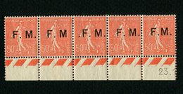 Exceptionnelle Bande F. M. Avec Les 3 Variétés Réunies (rare) : N° 6 - 6a - 6b - 6 - 6c Neufs ** - TTBE - Franchise Stamps