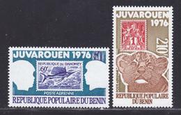 """BENIN AERIENS N°  254 & 255 ** MNH Neufs Sans Charnière, TB (D8076) Exposition Philatélique """"Juvarouen"""" - 1976 - Benin – Dahomey (1960-...)"""