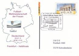 Germany Postal Stationary 2011Football World Championship Women Halbfinale Frankfurt - Used Frankfurt - 2 Glue(DD8-48) - Voetbal