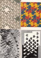 MC Echer Birds In Space Sky & Water 4x Bird Painting Postcard S - Peintures & Tableaux