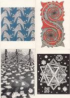 MC Echer 4x Fish Stars Three Worlds Goldfish Painting Postcard S - Peintures & Tableaux