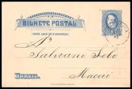 4514 10c Blue 1893 Maceio Alagoas Ttb Carte Postale Bresil (brazil) Entier Postal Stationery - Entiers Postaux