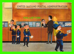 POSTE & FACTEURS - UNITED NATIONS POSTAL ADMINISTRATION - PRE-STAMP POSTCARD IN 1968 - ILLUSTRATED BY SASEK - - Poste & Facteurs