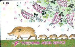 Télécarte Japon *  YEAR Of The PIG (己亥) ZODIAC  (613) COCHON * PHONECARD JAPAN * TK * SCHWEIN * PORCO * VARKEN - Zodiac