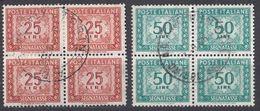 ITALIA - 1947/1954 - Due Quartine Usate Di Segnatasse: Yvert 75 E 76, Come Da Immagine. - 1900-44 Vittorio Emanuele III