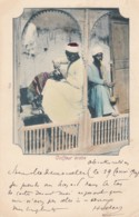 Arab Barber Coiffeur Arabe, Egypt Man Shaves Head, 1900s Vintage Egyptian Postcard - Mestieri
