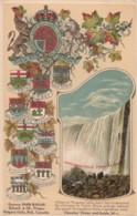 Niagra Falls Ontario Canada, Provincial Crests, Horseshoe Falls From Below, 1900s/10s Vintage Embossed Postcard - Niagara Falls