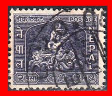 NEPAL SELLO AÑO 1959-60 – KRISHNA CONQUERING BLACK SERPENT - Nepal