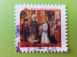 """Timbre France YT 631 AA - Meilleurs Voeux - Nativité - """"Adoration De L'Enfant"""" Par Le Maître Du Retable De St Barthélémy - Adhésifs (autocollants)"""