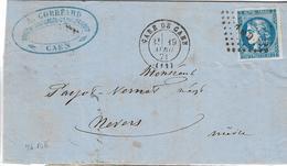 046. LAC N°46 Type3 Report II Bleu (Belle Nuance, 4Marges) - Càd Gare De Caen (CALVADOS) - 1871 - Poststempel (Briefe)