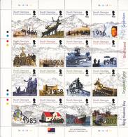 2003 South Georgia History Shackleton Penguins Ships Miniature Sheet Of 16 Complete MNH - Géorgie Du Sud