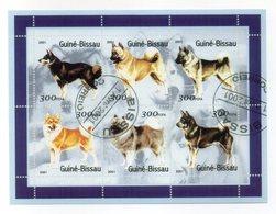 """GUINEA BISSAU - 2001 - Foglietto Tematica """" Animali - Cani """" - 6 Valori - Con Doppio Annullo - Vedi Foto - (FDC13553) - Guinea-Bissau"""