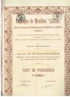 Action Ancienne - Fabrique De Meubles Légia Sté Anonyme Des Etablissements Bodson & Plenger à Herstal - 2 Titres - - Industrie