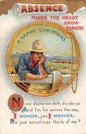 ABSENCE MAKES THE HEART GROW FONDER-COWBOY-LASSO ROUND PHOTO CHRISTMAS-1913 POSTCARD 36038 - Other