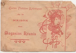Enveloppe Pochette Pour Cartes Postales / Magasins Réunis / Art Nouveau - Cartes
