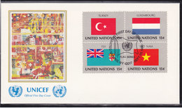 NATIONS UNIES 1980  DRAPEAUX  4 FDC UNICEF Yvert 316-331 - New-York - Siège De L'ONU