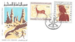 2 FDC ALGER 28 01 1967 (2 X 2 Timbres) Dessin Rupestre De Tassili Préhistoire Homme Préhistorique Histoire - Algeria (1962-...)