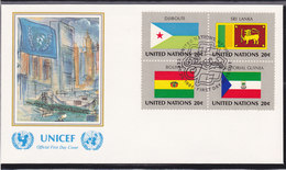 NATIONS UNIES 1981  DRAPEAUX  4 FDC UNICEF Yvert 341-356 - New-York - Siège De L'ONU
