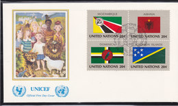 NATIONS UNIES 1982  DRAPEAUX FDC UNICEF Yvert 369-372 - New-York - Siège De L'ONU