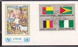 NATIONS UNIES 1982  DRAPEAUX FDC UNICEF Yvert 377-380 - New-York - Siège De L'ONU