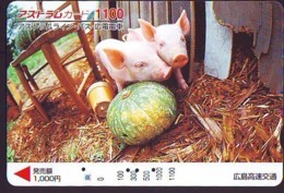 Carte Prépayée Japon * YEAR Of The PIG (己亥) ZODIAC * (719) COCHON *  PREPAIDCARD JAPAN * TK * SCHWEIN * PORCO * VARKEN - Zodiaque