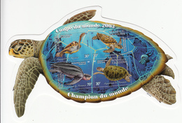 2003 New Caledonia Caledonie Turtles Aquarium World Cup Football Overprint Souvenir Sheet MNH - Unused Stamps