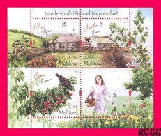 MOLDOVA 2018 Months Of Year In Folk National Traditions Spring April May June S-s Mi Bl.80(1042-1044) Sc980 MNH - Moldova