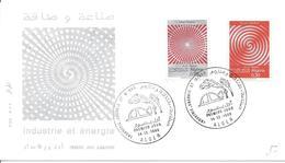 2 FDC ALGER 14 12 1968 (3 Timbres) Industrie Et énergie Et Mines Pétrole Flamme - Algerien (1962-...)