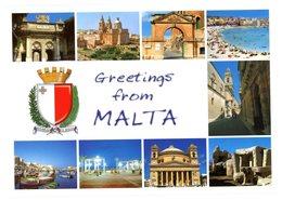 Malta. Greetings. Valletta Victoria Gate, Mellieha Parish Church, Birgu Gate, Birzebbugia Pretty Bay, Mdina Carmelite... - Malte