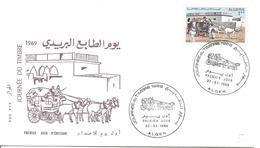 FDC ALGER 22 03 1969 Journée Du Timbre 1969 Voiture Calèche Chevaux Hippomobile Attelage - Algeria (1962-...)